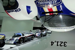 "The exhibition: The Idea ""fast"" shows the Porsche 956 spectacular arranged above the visitor's head from the ceiling of the Museum"